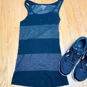 OLD NAVY Black + Silver Striped Perfect Tank Top